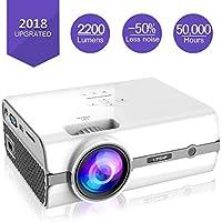LESHP Video Proiettore Portatile, Mini Proiettore Multimedia Domestico da 50000 ore, HD Proiettore LED da 2200 Lumens, Supporto Full HD 1080P, Home Cinema per TV/AV/VGA/USB/HDMI/TF ( Bianco )
