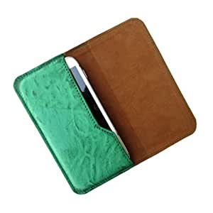 i-KitPit : PU Leather Flip Pouch Case Cover For Intex Aqua i7 (GREEN)
