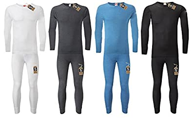 Men's Extreme Hot Thermal Underwear Set Long Sleeve Top & Long Johns Suitable for Winter, Outdoor Work, Travel, Camping & Ski Wear Size S-XXL By Sockstack®
