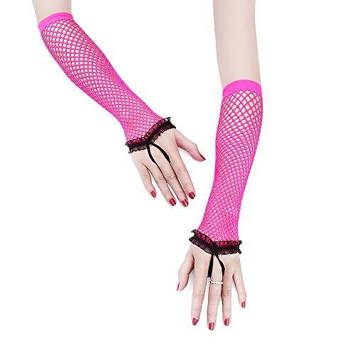 Handschuhe Kostüm Fischnetz - Haushaltshandschuhe Rosa sexy bogen spitze kurze handschuhe weibliche braut hochzeit handschuhe partei phantasie kostüm 5 pairs fischnetz handschuhe Handschuh-Serie ( Color : Pink )