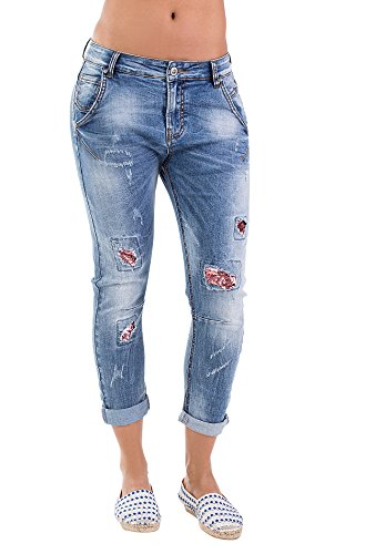 BLUE MONKEY Cropped Jeans Cropped Candice 3760 Damen Slim Fit 1001365 Hellblau