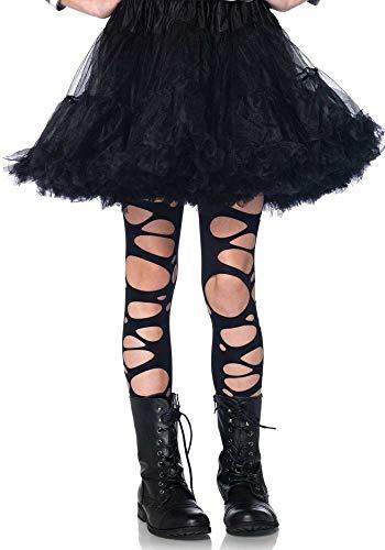 shoperama Schwarze zerschlissene Strumpfhose für Kinder von Leg Avenue Löcher Schlitze Kostüm-Zubehör Halloween Mädchen, Größe:XL - 11 bis 13 Jahre