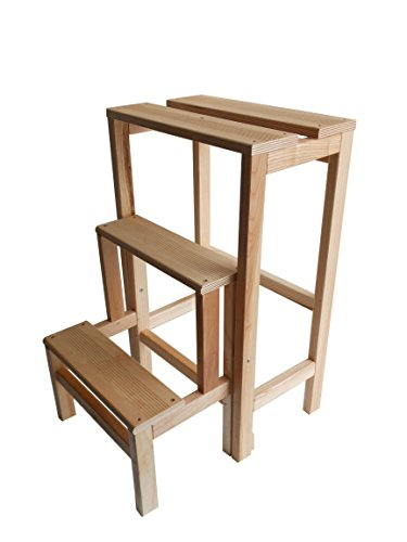 Sgabello scala in legno di faggio naturale richiudibile salvaspazio - scaletta 3 gradini a ribalta