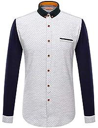 057384278d Camisa de Vestir Slim fit para Hombre Camisa de Vestir de Corte Regular con  Paneles de