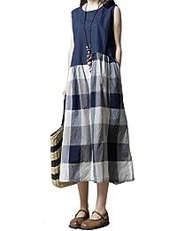 709068e08 Vestido Midi De Verano Sin Mangas De Algodón De Lino Swing para Mujer  Vintage