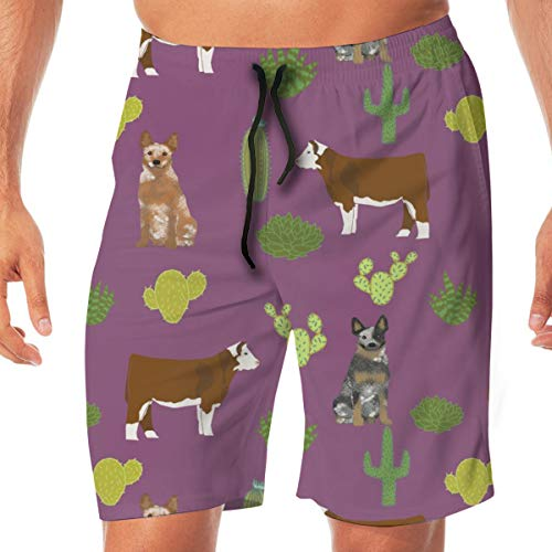 Australian Cattle Dog with Cattle Red Heeler and Blue Heeler Purple Surfing Pocket Elastic Waist Men's Beach Pants Shorts Beach Shorts Swim Trunks ()