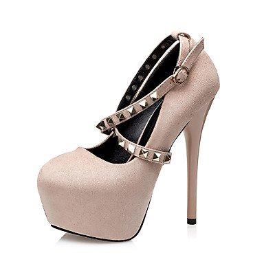 Moda Donna Sandali Sexy donna tacchi tacchi inverno / Round Toe abito scamosciato Stiletto Heel Rivetto nero / verde / rosso / a piedi di mandorla Red