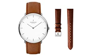 Nordgreen Native Scandinavian Silver Unisex Analog 40mm (Large) Watch with Brown Leather Strap 10064