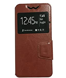 AryaMobi One Window flip case cover diary style for Kult 10 - Brown