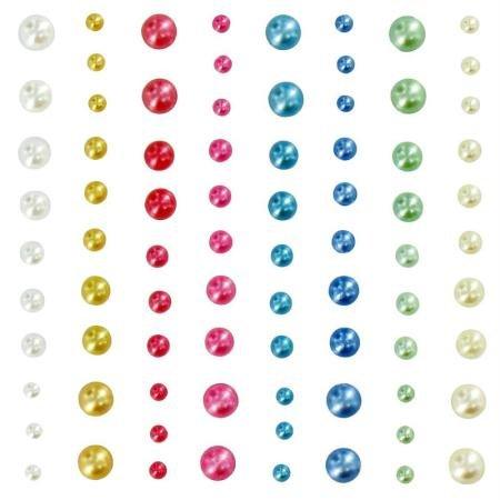 Multi-Color Artemio 80 Pezzi Imitazione Perle con Diamanti Vinile
