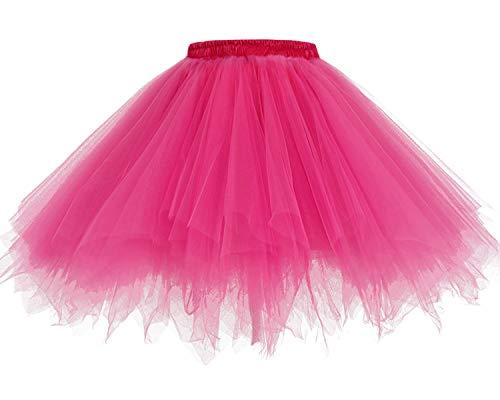HomRain 1950 Petticoat Tutu Unterrock Underskirt für Rockabilly Kleid Fuchsia XL