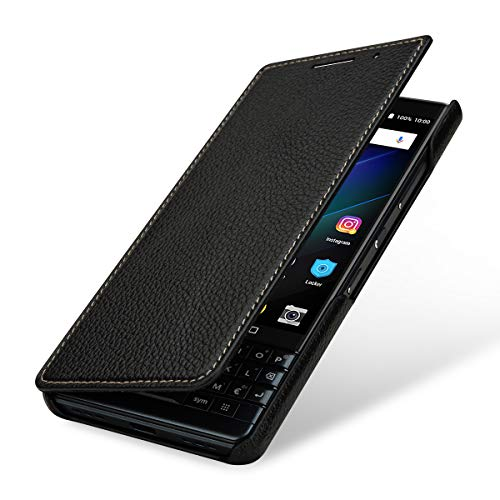 StilGut Lederhülle für BlackBerry Key2 LE Book Type, schwarz