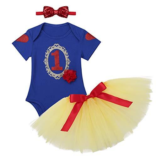 dPois Schönes Baby Mädchen Prinzessin Outfit Set Säuglings Strampler mit Mesh Tutu Rock Kostüm Kleinkind Märchen Kostüm Schneeprinzessin Kostüm Blau&Gelb 80-86/12-18 - 12 18 Monat Schneewittchen Kostüm
