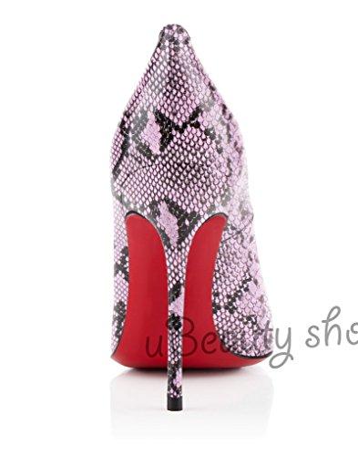 uBeauty Damen Serpentin Pumps High Heels Round Zehen Pumps Slip-on Klassik Übergröße Pumps Pink