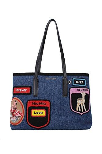 Borse Shopping Miu Miu Donna Tessuto Blu Denim e Multicolore 5BG024BLEU Blu 16x28x38 cm