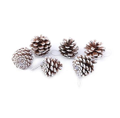 45x Milopon Weihnachten Tannenzapfen Kiefer Kegel Dekoration Flitter Weihnachtsbaum Dekorationen Ornament Home Decor (Weiß)