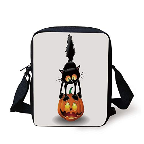 Halloween Decorations,Black Cat on Pumpkin Spooky Cartoon Characters Halloween Humor Art,Orange Black Print Kids Crossbody Messenger Bag Purse