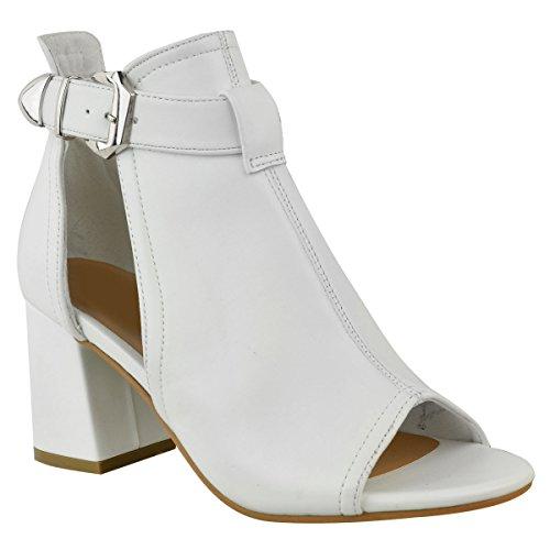 Fashion Thirsty Damen Peeptoe-Sandalen IM Stiefeletten-Stil - Mittelhoher Blockabsatz - Weiß Kunstleder/Urlaub/Sommer - EUR 40 Cut-out Wedge Sandals