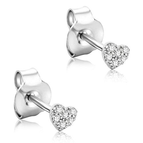 Orovi Ohrringe Damen Herz Weißgold 18 Karat/750 Gold Ohrstecker Diamant Brilliant 0,06 ct