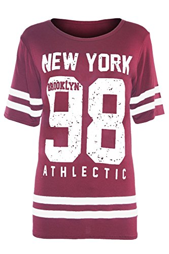 Be Jealous Damen T-Shirt New York 98 Wine - Winter Warm Long Cap Sleeves (T-shirt Sleeve Plus Cap Size)