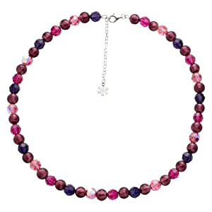 Valentina Murano Glass Amethyst and Pink Bead Sterling Silver Necklace of Length 43.5 cm + 5 cm Extender