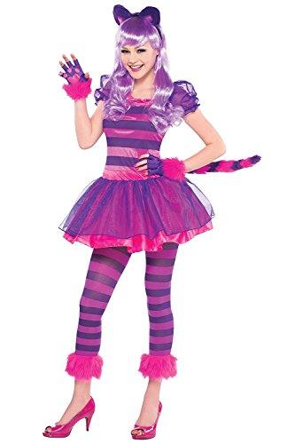Cat Wunderland Alice Kostüm Im - Lila Grinsekatzen-Kostüm-Set, Alice im Wunderland, für Jugendliche, bestehend aus Schwanz, Kopfteil, Pfoten und Strumpfhose Gr. 12-14 Jahre, rose