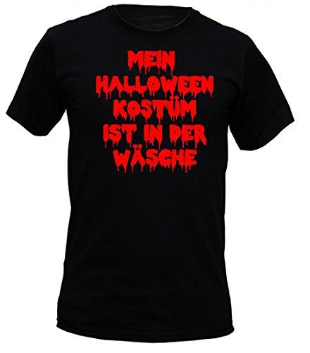 T-Shirt Horror schwarz - Mein Halloween Kostüm ist in der Wäsche - originelles Spruchshirt für die Hexennacht mit Spass und Grusel, Größe:3XL