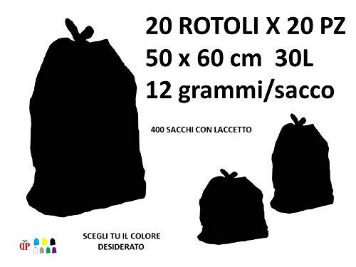 400 Sacchi PATTUME Resistenti 50x60 cm 30L 12gr/Sacco (20 Rotoli x 20 PZ) del Colore A Scelta