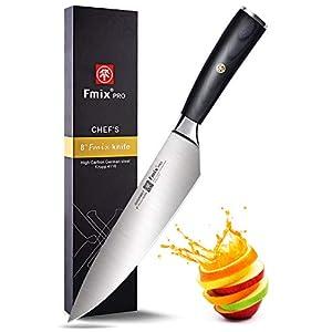 FMIX Küchenmesser Kochmesser Profi Chefmesser Damastmesser, Ultra Scharfe Klinge 20 cm mit Edelholz Griff - Exquisiter Geschenkverpackung(Schwarz Griff)