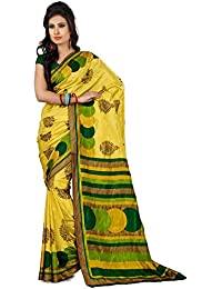 Novus Knitting Yellow Pure Mysore Silk Designer Bollywood Saree With Blouse For Uniform (6422)