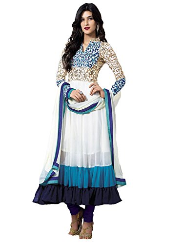 Cozer Women's Semi Stitched Georgette Salwar Suit (ewhfvw01_White and Blue )