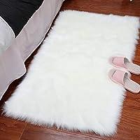 LOCHAS Super Soft Fluffy Faux Sheepskin Fur Area Rug, Living Room Bedroom Floor Shaggy Silky Plush Carpet White Faux Fur Rug Bedside Rugs Christmas Rug, for Thanksgiving & holiday, 60 X 90cm, White