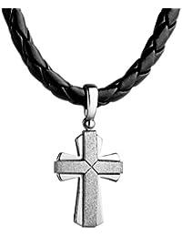 95c2fb46f0b7 STERLL Collar de cadena de cuero negro para hombre