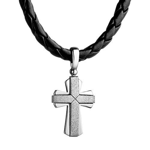 STERLL Herren Hals-Kette Leder Schwarz Kreuz-Anhänger Silber 925 Schmuck-Beutel Geschenkideen für Männer