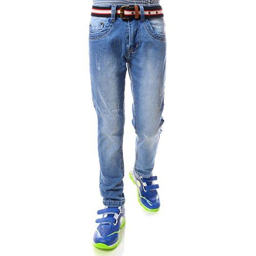 Jeans Hose Jungen Kinder Röhre-jeans Strech-Hose Cool mit Gürtel Hello Boy 21746, Größe:152 (Jungen Jeans Größe 12)