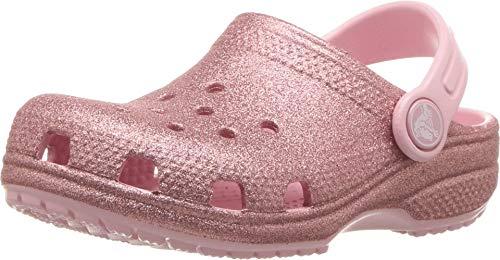 Crocs classic glitter clog k, zoccoli unisex-bambini, rosa (blossom 682), 25/26 eu