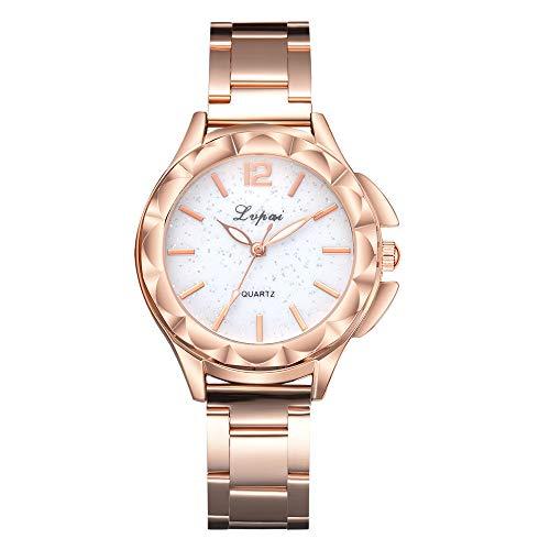 Suitray Damen Armbanduhr,Luxus Frauen Uhren Analoge Quarzuhr Beiläufig Uhr Geschenk,Runde Zifferblattgehäuse Edalstahlband Uhren