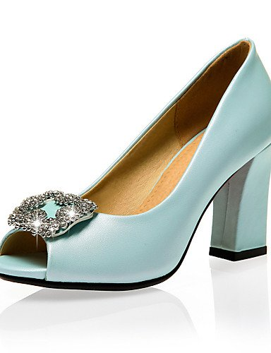 LFNLYX Scarpe Donna-Sandali-Ufficio e lavoro / Formale / Casual-Tacchi / Spuntate / Aperta-Quadrato-PU-Blu / Rosa / Bianco Blue