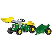 Rolly Toys 023110 John Deere - Tractor a pedales con pala frontal y remolque (168