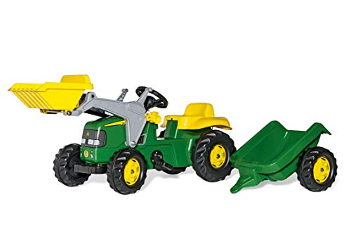 Trettraktor mit Anhänger rolly toys | rollyKid John Deere | Kids Pedal Tractor with Loader and Trailer | 620005