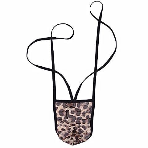YiZYiF Spitze Herren Strings Tanga Thongs Unterwäsche Männer Bodysuit Bikini Slip Mankini Badeanzug Leopard One