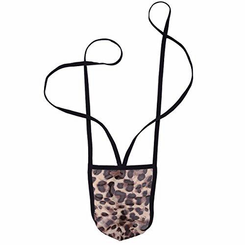 YiZYiF Spitze Herren Strings Tanga Thongs Unterwäsche Männer Bodysuit Bikini Slip Mankini Badeanzug Leopard One Size
