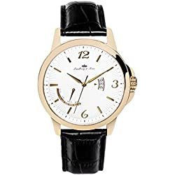 Lindberg&Sons - LS15H11 - wrist watch for men - quartz movement analog display - black leather bracelet