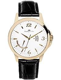 Lindberg & Sons LS15H11 - Reloj pulsera analógico de cuarzo para hombre, correa de cuero negra