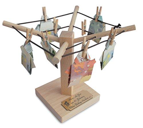Geld/Foto Wäschespinne mit PERSONALISIERUNG als Geldgeschenk Hochzeitsgeschenk