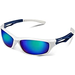 Duduma Gafas de Sol Deportivas Polarizadas Para Hombre Perfectas Para Esquiar Golf Correr Ciclismo TR90 Súper Liviana Para Hombre y Para Mujer (marco blanco con lente azul)
