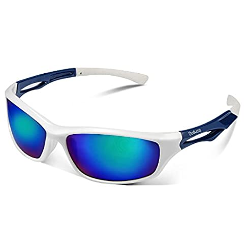Duduma Polarised Sports Mens Sunglasses for Ski Driving Golf Running Cycling Tr90 Superlight Frame Design for Mens and Womens (white frame with blue lens)
