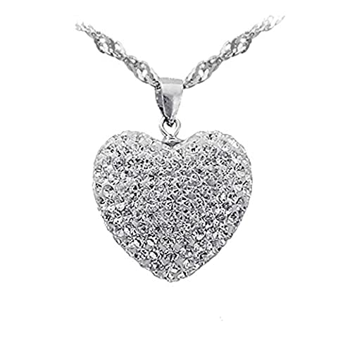 Fashion Simple Elegant Hollow Silver Full Cubic Zirconia Heart Shaped Women Necklace Pendant (Pendant Only)