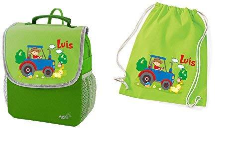 Mein Zwergenland Set 2 Kindergartenrucksack und Turnbeutel aus Baumwolle Happy Knirps Next mit Name Traktor, 2-teilig, Grün