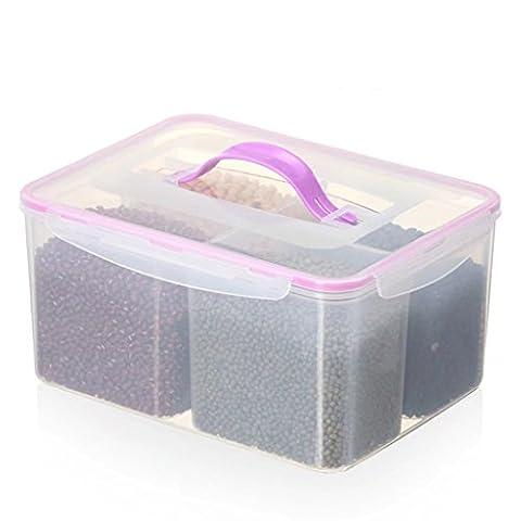 Conteneur de stockage de nourriture 8L avec couvercles de clip, 4 compartiment amovible, sans BPA